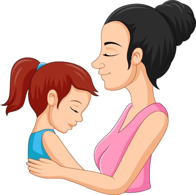 Illustration of a mother hugging her daughter