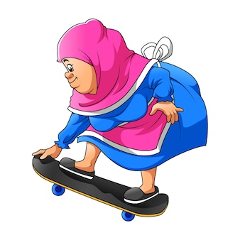 The illustration of the mother using the veil and playing the black skate board on the road
