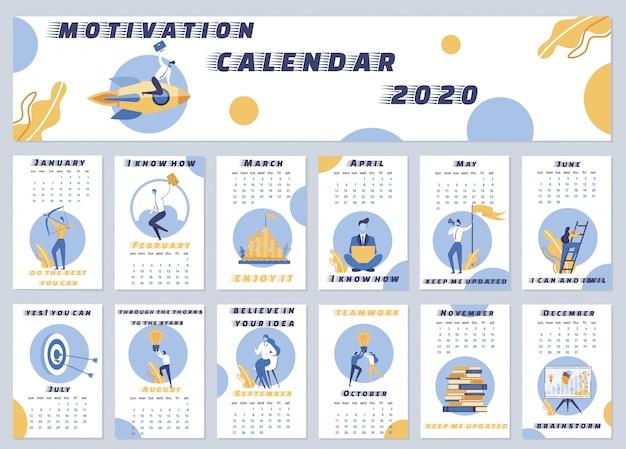 Illustration motivation calendar 2020 lettering.
