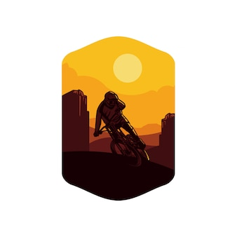 Illustration mountain biking background yellow sun. sign logo badge symbol tshirt poster design