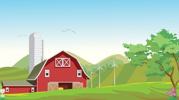 Illustration of mountain countryside with red farm barn