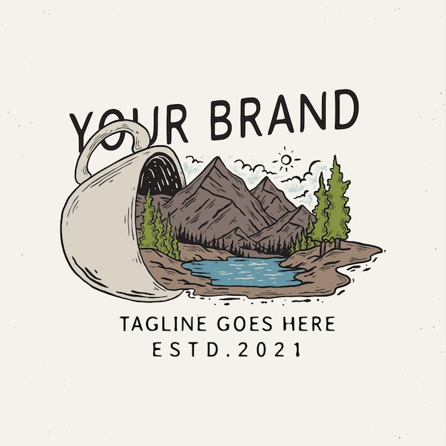 Illustration of mountain cup badge template