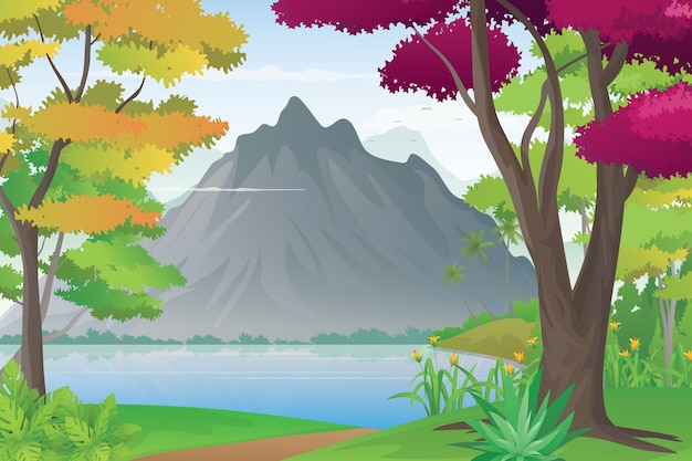 Illustration of mountain and lake view from a hill. beautiful valley landscape