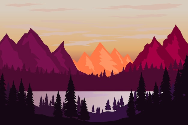 Illustration of mountain landscape in  style.  element for poster, flyer, presentation, brochure.  image