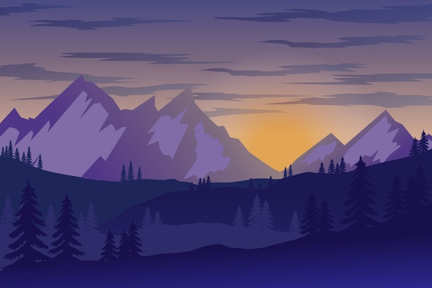 Illustration of mountain landscape in  style.  element for poster, flyer, presentation, brochure.  image