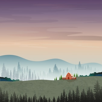 Illustration of mountain landscape with silhouettes of misty pine trees in forest.