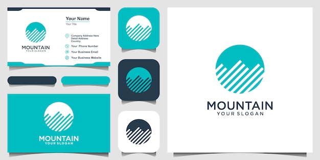Illustration of mountain with circle style logo and business card design vector.