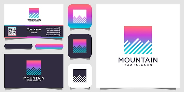 Illustration of mountain with square style logo and business card design
