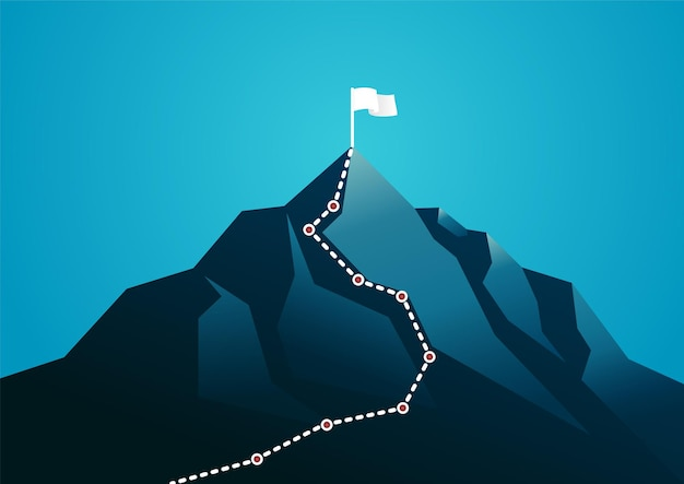 Illustration of a mountain with white path graphic. describe business journey, planning, and target.