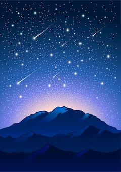 Иллюстрация горы ночь звезды