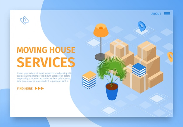 Illustration moving house services landing page.