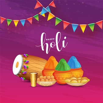 Illustration of mud pots full of powder with dholak, thandai glass and indian sweets on purple and pink