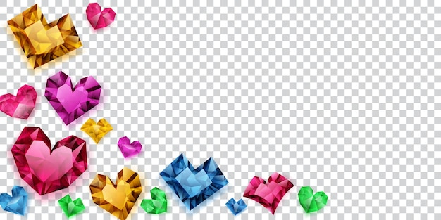 Illustration of multicolored hearts made of crystals witn shadows on transparent background