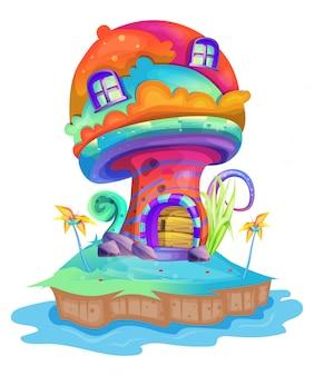 Illustration of a mushroom house