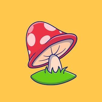 Illustration of mushroom plant design in blue premium isolated plant design concept