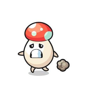 Illustration of the mushroom running in fear , cute style design for t shirt, sticker, logo element