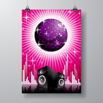Illustration in musical theme with speakers and disco ball
