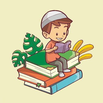 Illustration of muslim boy reading a book on a pile of books. hand drawn art