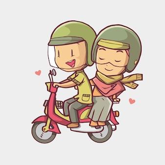 Illustration of a muslim couple riding a motorbike han drawn art