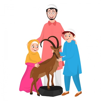 Illustration of muslim man with his child and animal goat character