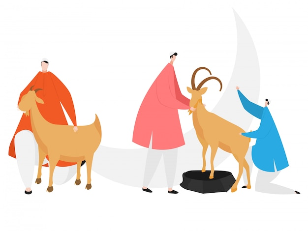 Illustration of muslim men sacrificing animals goat for islamic