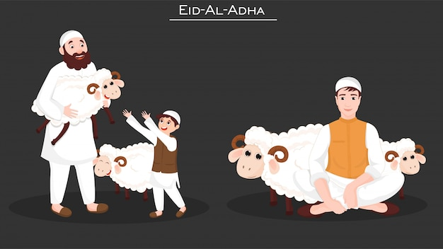 Illustration of muslim men sacrificing sheep animals