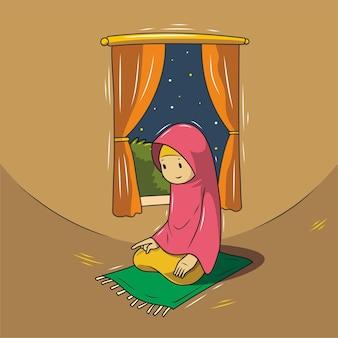 Illustration of a muslim praying