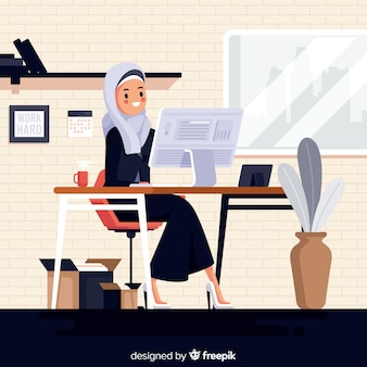 Illustration of muslim woman working at the office