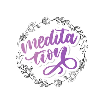 Illustration of my therapy is meditation. lettering poster for yoga  and meditation class. fun letters for greeting and invitation card, t-shirt  .
