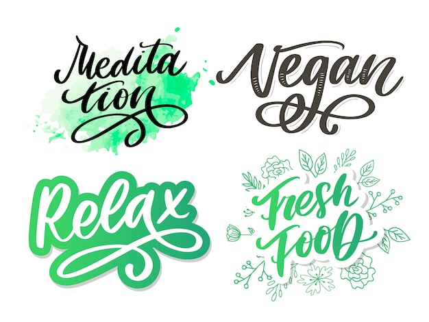 Illustration of my therapy is meditation. lettering poster for yoga studio and meditation class. fun letters for greeting and invitation card, t-shirt print .