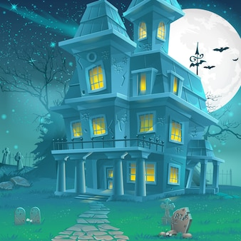 Illustration of a mysterious haunted house on a moonlit night