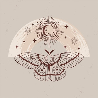 Illustration of mystical and esoteric logos in a trendy minimal linear style.  emblems in boho style - moth, moon, sun and stars.