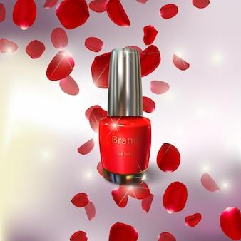 Illustration of nail polish and rose petals