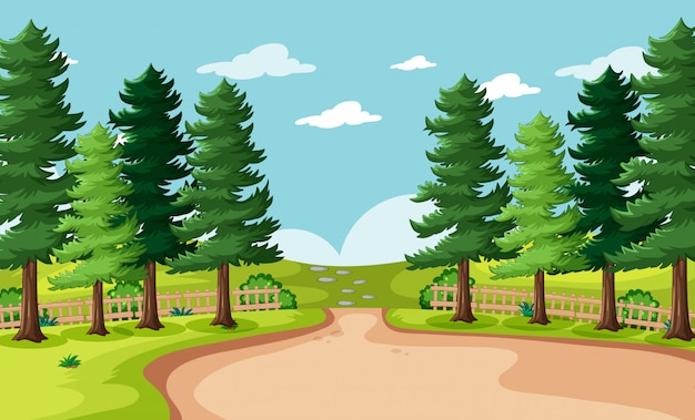 Illustration of nature park scenery