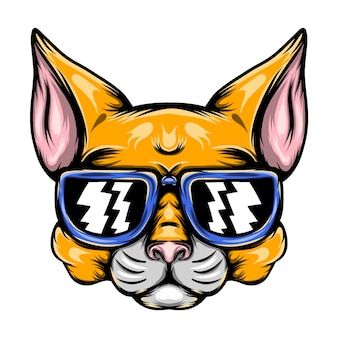 The illustration of the naughty yellow cat with the blue sunglasses for the mascot inspiration