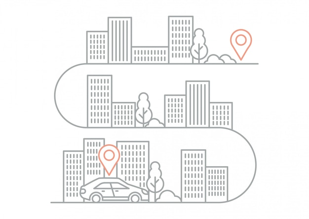 Illustration navigation directions with car