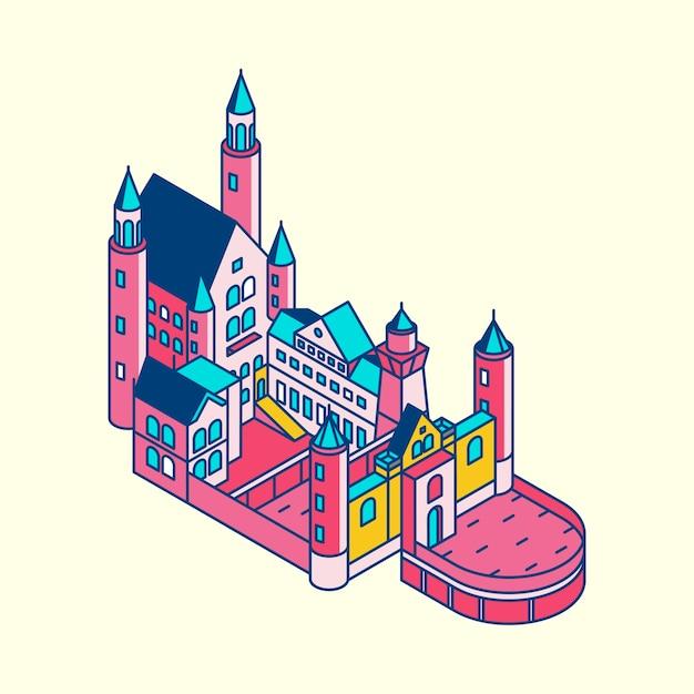 Illustration of neuschwanstein castle in germany