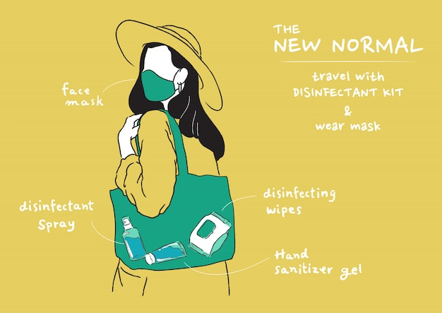 Illustration of new normal lifestyle. wearing mask and carry disinfectant kit when go out home. protect yourself from virus, coronavirus (covid-19).