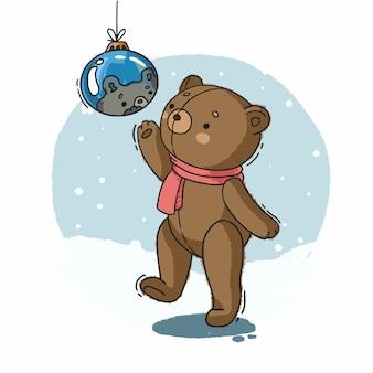 그림 크리스마스 공 새 해 곰