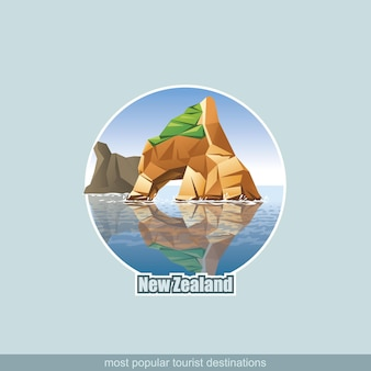 Illustration of new zealand landscape with rock and ocean.