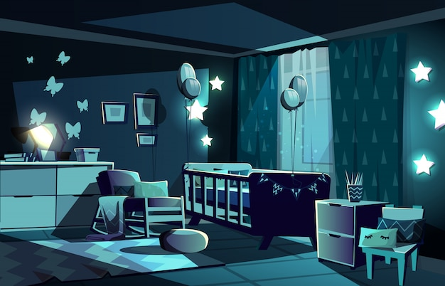 Illustration of newborn kid or nursery room at night in moonlight.