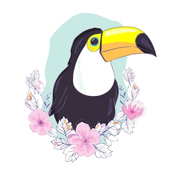 An illustration of a nice toucan in vector format. a cute toucan bird image for kid's education and fun in nursery and schools, and decoration purposes