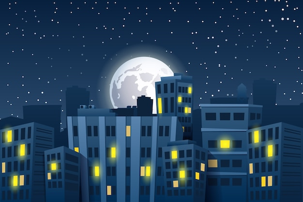 Illustration of night cityscape with the moon