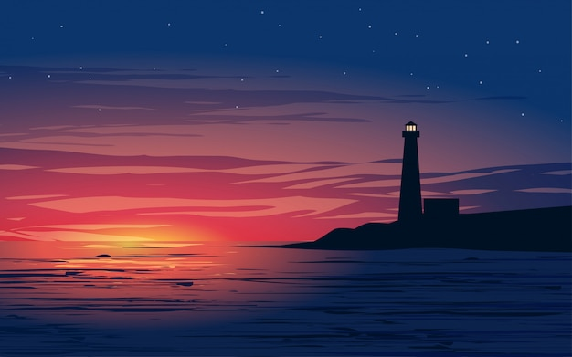 Illustration of night at sea with lighthouse