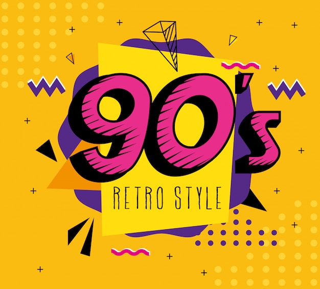 Illustration of nineties retro style pop art