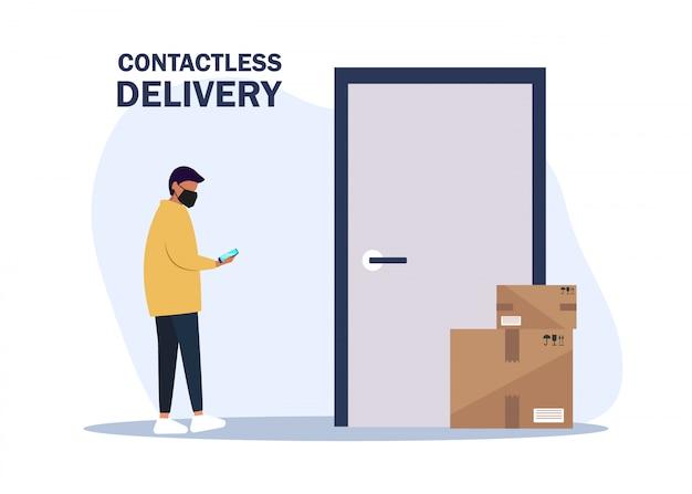 Иллюстрация нет контакта доставки. доставить мужчина приносит коробки и кладет их возле двери квартиры. бесконтактная служба экспресс-доставки. самоизоляция и карантинный образ жизни