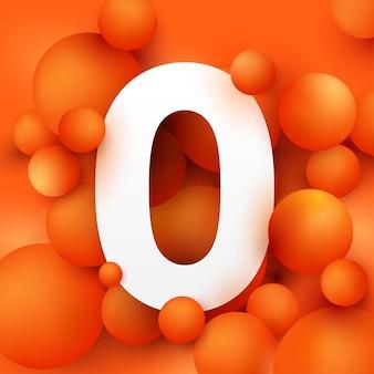 Illustration the number 0 on  ball orange. Premium Vector