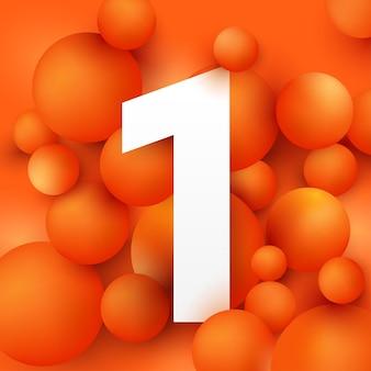 Illustration the number 1 on  ball orange.