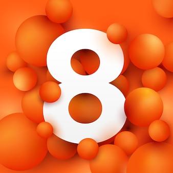 Illustration the number eight on  ball orange.