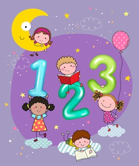 Illustration of  numbers with hand drawn kids in the sky at night